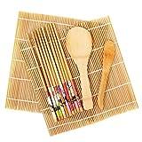 Fu Store Sushi Making Kit Set 9 PCS-Sushi Rolling Mats Rice Paddle Rice Spreader Sushi Roller Bamboo Beginner Sushi Maker