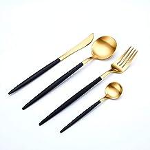 Gold Flatware Silverware Set, 4 Pieces 18/10 Stainless Steel Cutlery Tableware Set Including Fork Spoons Knife Tableware, ...