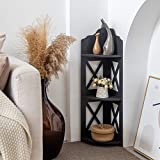 Corner Shelves,Puja Mandir for Home,Tiered Plant Stands Indoor,Black Corner Shelf for Living Room,Narrow Nightstand for Small Spaces,Corner Stand for Half Bath Storage,Black by AOJEZOR