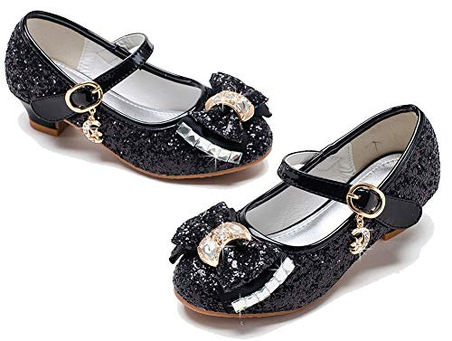 Walofou Mary Jane Shoes for Girls Size 11 Wedding Princess Black Dress Shoes 5 Yr Bridesmaid Kids Party Flower Low High Heel Glitter Shoes for Little Girls Cosplay Sequins (Black 12)