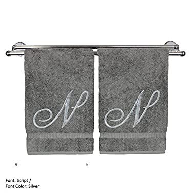 Monogrammed Hand Towel, Personalized Gift, 16 x 30 Inches - Set of 2 - Silver Embroidered Towel - Extra Absorbent 100% Turkish Cotton- Soft Terry Finish - For Bathroom, Kitchen and Spa- Script N Gray