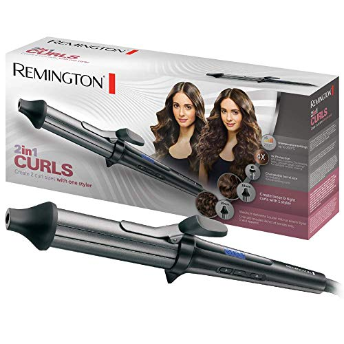 Remington 2in1 Curls CI67E1 Rizador de Pelo, Cerámica, Turmalina Iónica, Antiestático, Punta Fría, Digital, Negro
