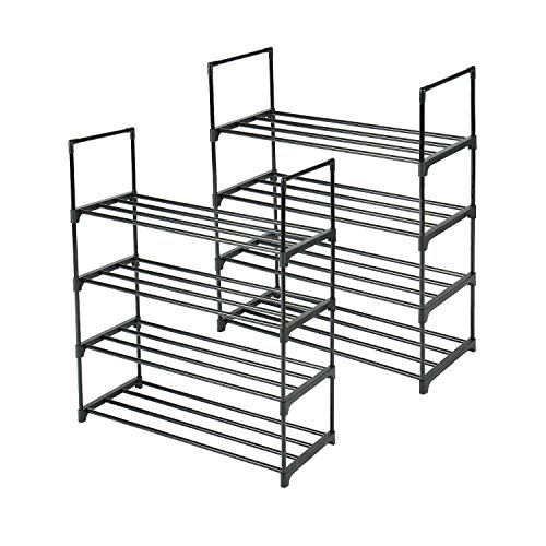 HOMEFORT Small 8-Tier Shoe Rack, 2 Pack 4-Tier Shoe Rack,Set...