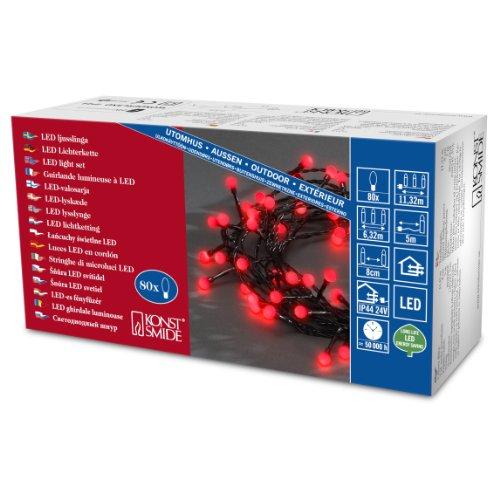 Konstsmide 3691-557 Catena luminosa a micro LED, 80 diodi rossi, trasformatore esterno 24 V, 2,4 W, cavo nero