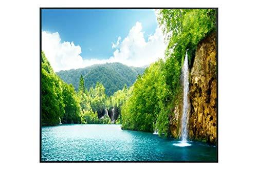 Ecowelle Infrarotheizung mit Bild | 350 Watt | 60x60 cm | Infrarot Heizung| | Made in Germany| (1) d 1 Fluss und Berge
