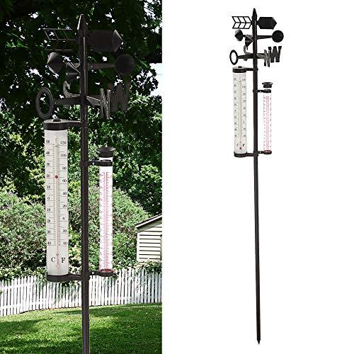 Cepewa Estación meteorológica para jardín, barómetro, pluviómetro, termómetro, velocidad del viento, 150 cm