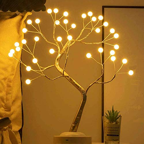 LXcom LED Globe Lights 36 LEDs New Gold Copper Wire Tree Branches LED Bonsai Table Tree Lighted USB Battery Operated with Touch Switch Decorative Desk Lamp for Home Decor, Warm White