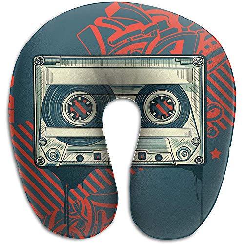 Marlon Kitty Almohada de Viaje en Forma de U Almohada de Viaje Espuma de Memoria para Adultos Cassette de Audio de Viaje sobre Fondo de Graffiti