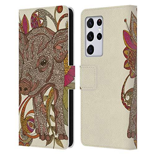 Head Case Designs Licenciado Oficialmente Valentina Paisley Piggy Animales y Florales Carcasa de Cuero Tipo Libro Compatible con Samsung Galaxy S21 Ultra 5G