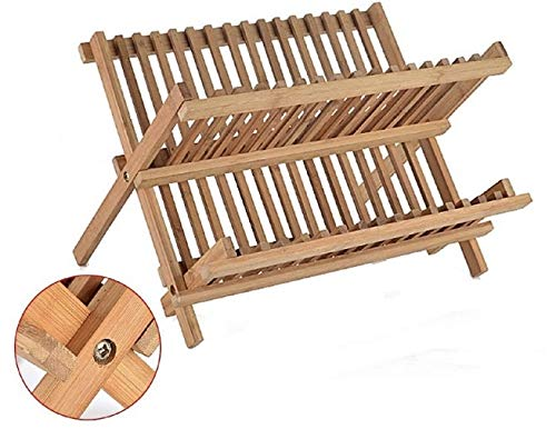 LEYENDAS Escurreplatos Plegable Cocina – Escurridor para Platos y Vasos en de Madera de Bambú (2 Niveles)
