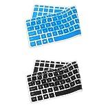 Ultradünn Tastaturschutz Silikon Folie Tastatur-Film Keyboard Abdeckung Schutzfall für Hp Pavillon 15 Zoll Laptops -Schwarz + Blau