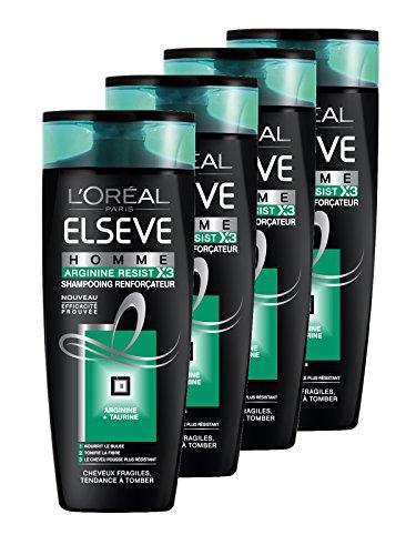 L'Oréal Paris Elsève Homme Shampooing Arginine Resist pour Cheveux Fragiles/Tendance à Tomber 250 ml - Lot de 4