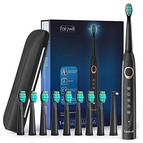 Sonic Electric Toothbrush Rechargeable for Adults and Kids  Ultra Powerful Whitening Cleaning 10 Dupont Brush Heads Travel Case Included 5 Modes USB Rechargeable Bulid in Timer 40000 VPM Black