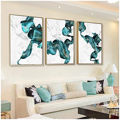 Kristall porslin målning 3 delar marmor abstrakt tryck väggkonst canvas målning gröna och vita affischer turkos heminredning aluminium inramad