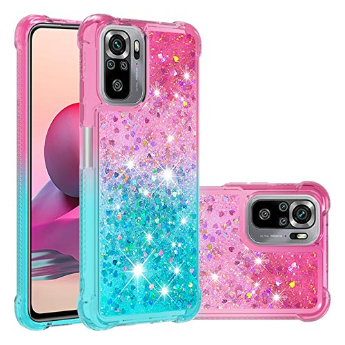 DAMONDY Redmi Note 10 Case,for Girls Women Shockproof Bumper Floating Gradient Quicksand Flowing | Soft TPU Liquid Glitter Bling Protective Case for Xiaomi Redmi Note 10 4G -Pink-Sky