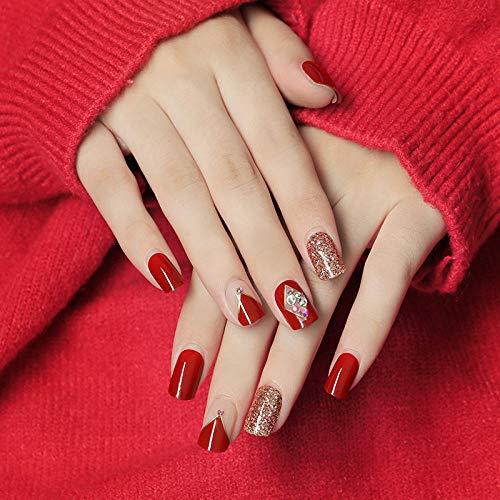 SRTYH Uñas postizas,Parche de uñas Etiqueta de uñas Parche de uñas Uñas portátiles Uñas portátiles Uñas Parche Producto terminado puede desmontarse