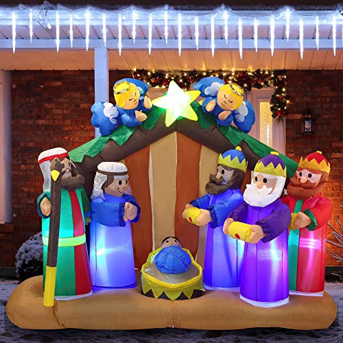 Joiedomi 6 FT Long Christmas Inflatable Nativity Scene Inflatable with Angels with Build-in LEDs Blow Up Inflatables for Christmas Party Indoor, Outdoor, Yard, Garden, Lawn Décor