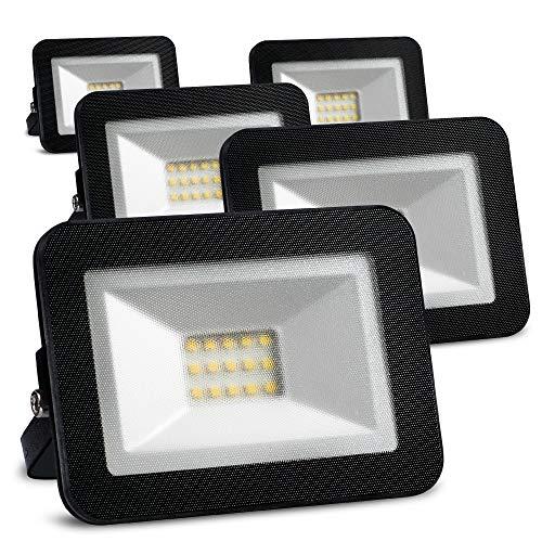 LED Strahler außen 10W 5er set (ersetzt 5x 90W Halogen Strahler schwarz) edles Design wasserdicht+schlagfest Halogenstrahler 230V