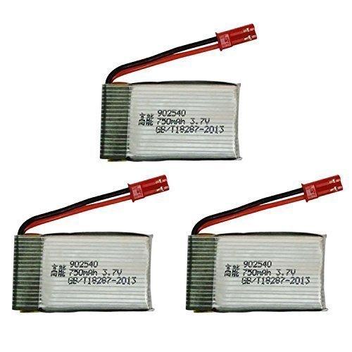 YUNIQUE Espagne® 3 Piezas 3.7V 750mAH Li-po batería para MJX X300C X400 X800 RC Drone Quadcopter (Batería*3)