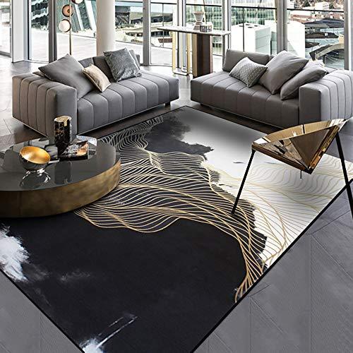 Rugs Living Room Area Rugs Golden Black Soft Bedroom Carpets Non-Slip Large Lounge Rug Abstract Carpet Beautiful Rug Kids Room,Black,4