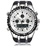 Readeel Military Men Sports Watch Silicone Watch LED Light Dual-display Mens Watches, White Dial