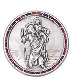 Fritz Cox® Automedaille Christophorus modern, mit Mosaik-Rand rot