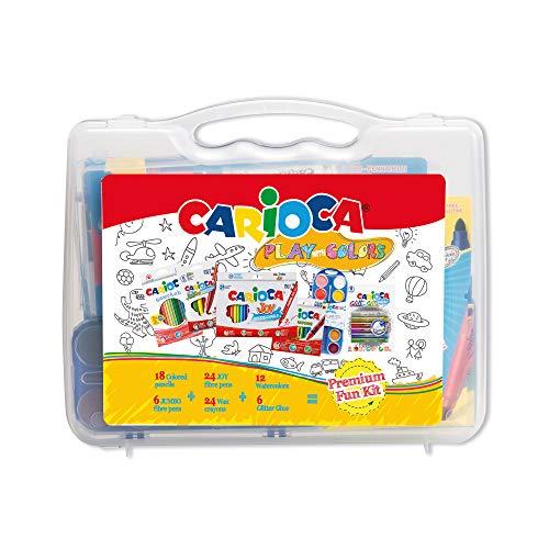 Carioca Play with Colours | Kunststoffetui mit 18 Buntstiften, 24 Filzstiften mit feiner Spitze, 6 Filzstiften mit Dicker Spitze, 24 Wachsmalstiften, 12 Aquarellen und 6 Glitzerklebern, 90 Teile