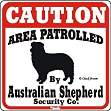 TGDB Dog Yard Sign Caution Area Patrolled Australian Shepherd Caution Area Crossing Sign Aluminum Metal Warning Sign Plaque Funny Novelty Gifts