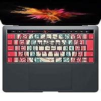 igsticker MacBook PRO 15inch 2016 ~ 専用 キーボード用スキンシール キートップ ステッカー A1990 A1707 Apple マックブック エア ノートパソコン アクセサリー 保護 011226 英語 ニューヨーク 赤