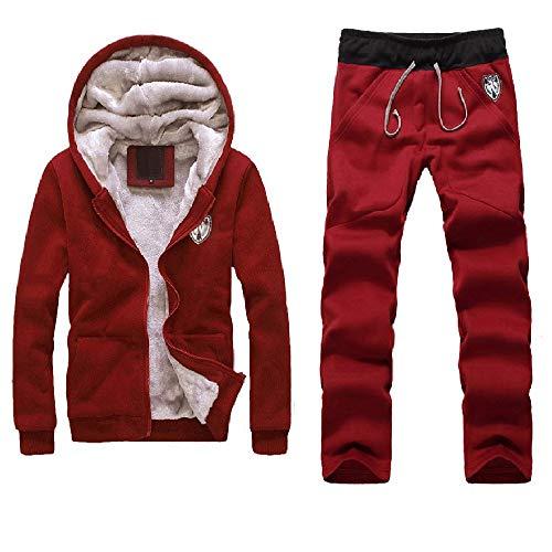MAYOGO Herren Fleece Fell Warmer Innen Hoodie Sweatshirts Sets, Pelz Kapuzen Sweatjacke Kapuzenjacke Fleecepullover Softshelljacke & Hosen Suits (rot, XL)