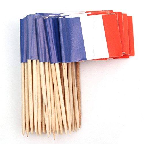 REFURBISHHOUSE Lot Von 50 Stück -Zahnstocher Aus Holz Mit Flagge Für Dekor Von Party-Obst-Geb?ck - Frankreich (Blau, Wei?, Rot)