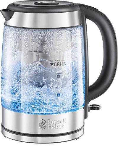 Russell Hobbs Wasserkocher Glas [BRITA Wasserfilter MAXTRA+] 1,0l + 0,5l Filtereinsatz, 2200W (LED Beleuchtung, gratis Filterkartusche, Kartuschenwechselanzeige) Teekocher Kalkfilter Clarity 20760-57