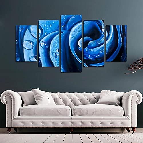 VYQDTNR Imagenes Enmarcadas Arte de Lienzo Enmarcado de 5 Piezas Rosa Azul Pinturas sobre Lienzo Arte de Pared para Decoraciones de Hogar Decoración de Pared Obra de Arte-Marco