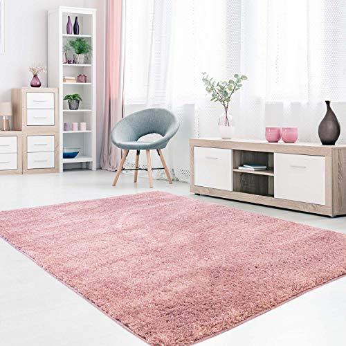 MyShop24h Teppich Wohnzimmer Pastel Pink Hochflor Shaggy 140x200cm Oeko-Tex Standard 100% Micro-Polyester Einfarbig Allergiker geeignet