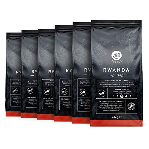 Amazon-Marke: Happy Belly Select Gemahlener Röstkaffee Mit Kaffeebohnen aus Ruanda, 6 x 227gr