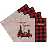 UrSIM Christmas Buffalo Plaid Placemats  Rustic Christmas Farmhouse Placemats Set of 4 Cotton Linen  Red Truck Holiday Placemats for Dining Table & Christmas Decorations
