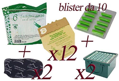 Bolsas de papel natural + ambientadores de pino + Filtro carbón + Filtro HEPA para aspirador Folletto Vorwerk VK130–VK131 18 Sacchetti + 20 Profumini + 3 Carboni + 3 Hepa