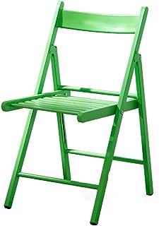 LJFYXZ sillas de Comedor Silla de Cocina Plegable Respaldo de Arco Marco de Hierro Teniendo Fuerte 3 Colores 43x47x79cm (Color : Green)