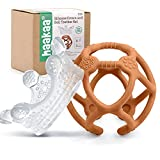 Haakaa Silicone Crown and Ball Teether Set 2PK,Super Soft Silicone Teething Toys | Soothing Teether for Babies 0-6,6-12 Months,Toddlers,Easy-to-Hold,Soothe Sore Gums,BPA Free Newborn Gifts - Rust