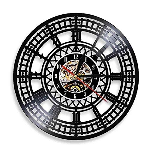 Reloj de Pared Big Ben Clock Tower Travel Landmark Reloj de Arte de Pared London Big Ben Disco de Vinilo Reloj de Pared Inglaterra Travel Souvenir Reloj de Regalo