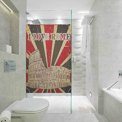 Lámina autoadhesiva para ventana de casa, con cita decorativa, texto en inglés 'Love Rome con tienda de circo', decoración para el baño, 45 cm de ancho x 199 cm de largo.