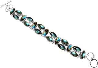 Sterling Silver Jewelry 41.80ctw,Genuine Labradorite & 925 Silver Plated Bracelet Made