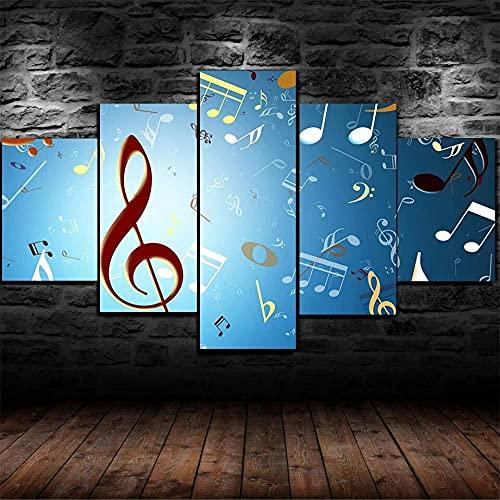YUECHU- Note Musicali Poster di Musica Poster da Parete -Stampe E Quadri su Tela 5 Pezzi Tela Wall Art Quadri Moderni Soggiorno XXL Casa Corridoio Decor Regalo-150X80Cm,Portafoto