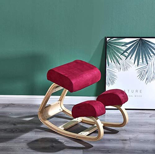 Comfortableplus Ergonomischer Kniestuhl - Kniestuhl mit besserer Haltung - Großartiger Home Office- oder Schreibtischstuhl - Größerer Sitz, Kniekissen (Rot)