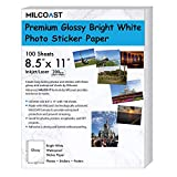 Milcoast Glossy Full Sheet 8.5' x 11' Waterproof Adhesive Bright White Photo Paper - 200 GSM Weight, Inkjet/Laser Printer Compatible - 100 Sheets