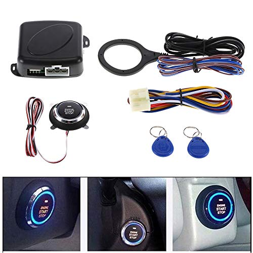 Zwy Alarmsystem Intelligente RFID-Auto-Warnungssystem-Push-Maschine Start-Stop-Knopf Transponder Wegfahrsperre Keyless Go Fits for 12V Autos Carsmate sicher