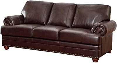 Aart Store 3 Seater Wooden Leatherette Sofa (Brown)
