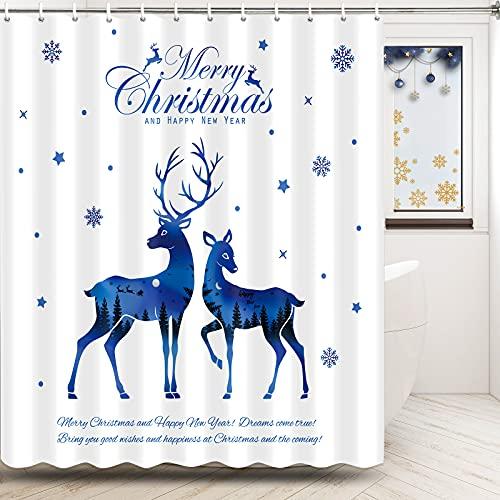 Merry Christmas Duschvorhänge Blau Xmas Elch Duschvorhang mit Haken Urlaub Weihnachten Thema Duschvorhang für Badezimmer Wasserdicht Stoff Neujahr Heimdekoration