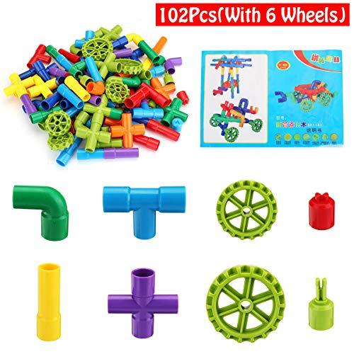 TuToy Plastic Multiple Color 72/102Pcs Tube Building Blocks Toy Kids Blocks Toys - #2