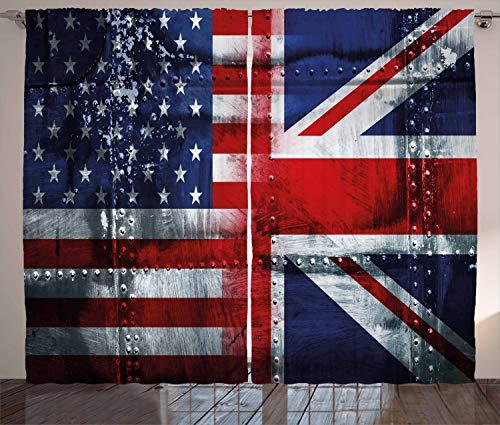 ABAKUHAUS Union Jack Rustikaler Vorhang, Allianz Großbritannien und USA, Wohnzimmer Universalband Gardinen mit...